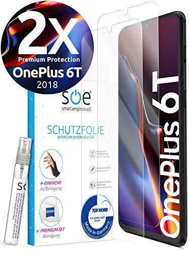 smart engineered Schutzfolie kompatibel mit OnePlus 6T [2 Stück] Premium Schutz hüllenfre&liche Abdeckung [HD-Klar] blasenfreie Aufbringung [Made in Germany] für OnePlus 6T [Panzer Folie Kein Glas]