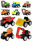 Wishkey 10 Pcs Construction Vehicles Pull Back Toy Cars Playset,Truck Model Kit