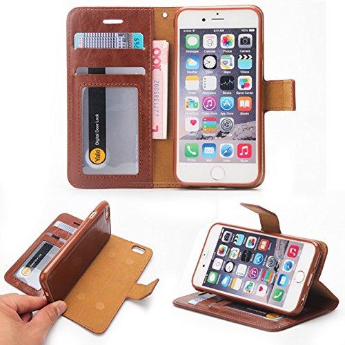 EKINHUI Case Cover Verrückte Pferd Textur Abnehmbare Design PU Leder Geldbörse Tasche Tasche mit Kartensteckplätzen für iPhone 6 Plus & 6s Plus ( Color : Green ) Brown