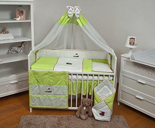 Velinda 11-tlg. Baby-Bettwäsche-Set mit Stickerei Bettzeug Bettbezug für Babybett 120x60 (Muster: Grün / Tierchen)