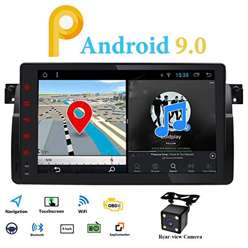 Android 9.0 Single Din Radio Estéreo de Coche GPS Fit para BMW E46 3 Series 1998-2005 Multimedia Bluetooth WiFi Mirrorlink Volante Control 9 pulgadas Pantalla táctil 4G DVR OBD2 DAB+Cámara