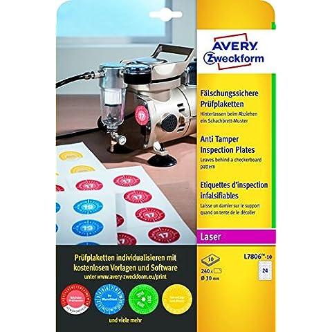 Avery España L7806-10 - Pack de 240 etiquetas adhesivos redondos de inspección, imprimibles,