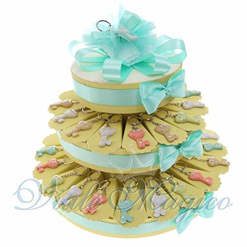 Bomboniere compleanno portachiavi torta con chiave pastello 18 anni ragazzo ragazza spedizione gratuita (35 pezzi)
