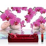 Vlies Fototapete 300x210 cm PREMIUM PLUS Wand Foto Tapete Wand Bild Vliestapete - Orchideen Tapete Steine Wasser Wellness rosa lila - no. 413