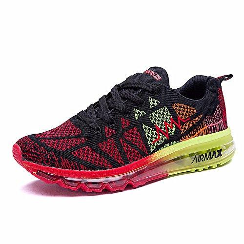 Sneakers Sneakers Scarpe Cuscino Di Aria Scarpe Da Running Di Smorzamento Di Ventilazione Viaggiare Leggero Scarpe Da Uomo Red