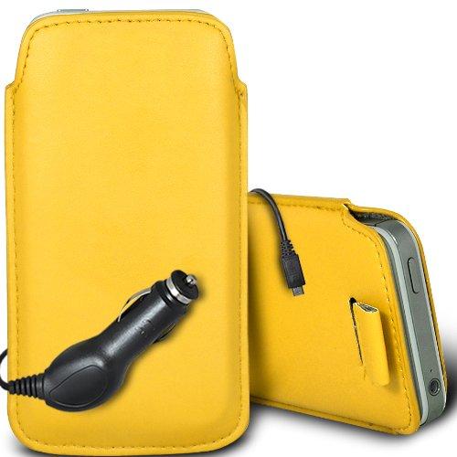 Brun/Brown - Xiaomi Redmi 1S Housse deuxième peau et étui de protection en cuir PU de qualité supérieure à cordon avec stylet tactile par Gadget Giant® Yellow & Car Charger