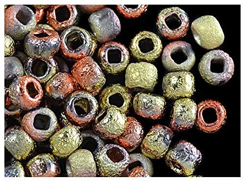 Rush-finish (10 Gramm (ca. 190 Stück.) 6/0 (3,7-4,3mm) Tschechische Runde Rocailles mit einem einzigartigen Finish Ätzen, Etched Crystal California Gold Rush)