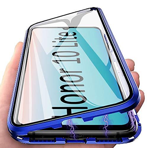 Huawei P Smart 2019 Hülle Magnetic Adsorption Handyhülle für Huawei P Smart (2019), E-Lush Hülle Ultra Dünn Durchsichtig Handy Hülle 360 Grad Komplettschutz Metall Bumper mit Gehärtetes Glas, Blau