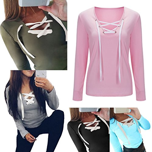 Bigood T-shirt Col V Femme Coton Chemise Top Manche Longue Haut Pull Veste Sport Casual Mode Bleu