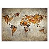 ge Bildet® hochwertiges Leinwandbild - Weltkarte Retro - 40 x 30 cm einteilig 1248