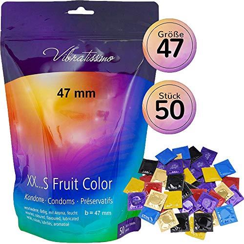 AMOR Vibratissimo 47mm Markenkondome, 50 Stück extra schlanke Kondome, farbig und aromatisiert