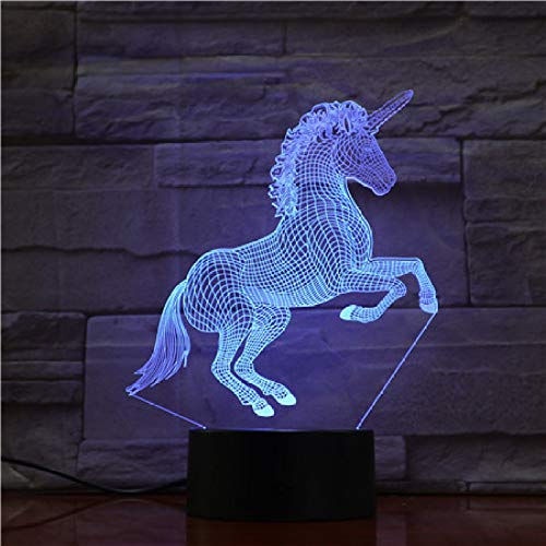 KangYD Visuelles Licht des Einhorn-Pferd 3D, LED kreative Lampe, Raum-Schlaf-Geschenk, Farbe der Direktübertragung 7 (Sprungs-Weiß), Illusion