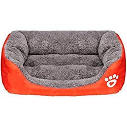cama de perrito Sannysis perrera Casa para mascotas, rectángulo (Naranja, M)