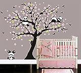 BDECOLL Panda-Baum-Sakura-Wandtattoo Aufkleber für Wohnzimmer Wanddekoration Entfernbare Vinyl Abziehbild Kunst Zuhause Dekorieren (Rosa)