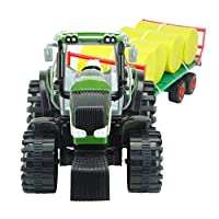 ToylandⓇ 80cm Friction Powered 2 Assorted Farm Tractor & Trailer - Farm Yard Playsets - Toy Tractors