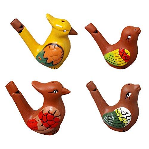 lpfeife Keramik Farbig Zeichnung Musikalische Spielzeug für Kinder 4 Stück ()