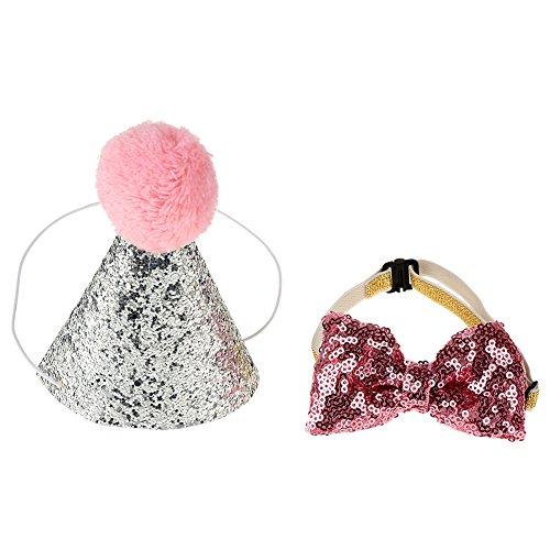Descripción: ¿Estás planeando una fiesta de cumpleaños para ti, adorable bebé mascota? ¡Bien, toma este bonito disfraz de sombrero y bowknot! Con colores festivos brillantes y un diseño único, es adorable, lindo y dulce. Ayuda a atraer más atención f...