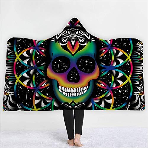 MS.REIA Hooded Decke Magic Hat Skeleton Art 3D Digitaldruck Kinder Umhang Halloween Dicke doppellagig Fleece werfen M, L