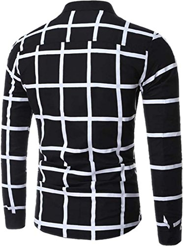 jeansian Herren Freizeit Hemden Shirt Tops Mode Langarmshirts Slim Fit Plaid Dress Shirts 84N5 Black