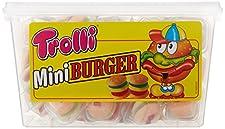 """Das Original im Mini-Format. Die Trolli Mini Burger sind immer zur Hand, wenn Sie der Heißhungr packt. Das ca. 2 cm hohe """"Fast-Sweet"""" besteht aus zwei Lagen """"Brötchen""""-Schaumzucker und einer """"Bulette"""", einer """"Käsescheibe"""" und einem """"Salatblatt"""" au..."""