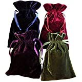 "Queen Of Wrap Tarot Rune Bag Bundle Of 4 - One Of Each Color : Moss Green, Navy Blue, Purple, Wine 4"" By 6"" Velvet Bags"