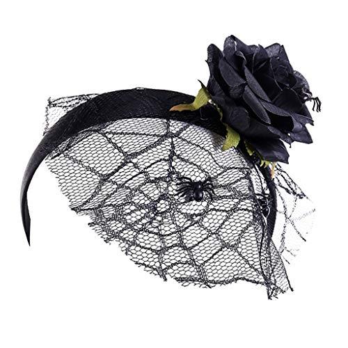 Kostüm Frauen Spinnennetz - cicianco Frauen Mädchen Halloween Künstliche Schwarze Blume Stirnband Spinnennetz Mesh Schleier Cosplay Kostüm Partei Requisiten Kopfschmuck
