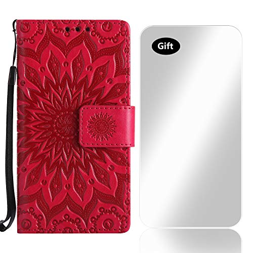 Sony Xperia XZ2 Hülle, Bear Village® Leder PU Cover Magnet Filp Brieftasche Schutzhülle mit Kostenlos Schutzfilm aus Gehärtetem Glas für Sony Xperia XZ2 (#5 Rose Rot)