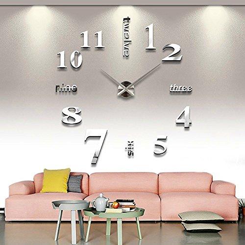 Guizen 3D Grandes Moderna DIY Reloj de Pared Extraíble Creativo de Vidrio Efecto de Espejo Para La decoración del Hogar y Oficina .(Plateado)