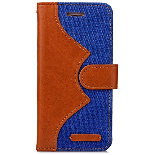 iPhone Case Cover Mixed couleur Wave Pattern Housse Jeans PU Cuir Retro Folio Stand Housse Silicone Avec Cash Card Slots Pour IPhone 7 ( Color : Blue , Size : IPhone 7 ) Blue
