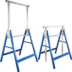 TecTake Lot de 2 Tréteaux télescopique | pliables hauteur réglable - diverses modèles - (Bleu | No. 402450)