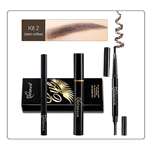 Oshide Eye Maquillage Kit-Liquide Eyeliner Pen + Mascara + Sourcils Crayon avec Brow Brush Imperméable À L'eau Long Staying Maquillage Cosmétique Outil (Kit 2)