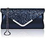 Envelope Clutch Bag, Easiecom Ladies Evening Handbags Glitter Sparkling Purses Elegant for Parties, Wedding, Dinner (Blue)