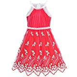Sunboree Mädchen Kleid rot Schmetterling Bestickte Halfter kleiden Gr. 116