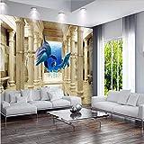 Wmbz Papel Pintado Estilo Europeo Moderno Volando Delfín Columna De Roma Sofá De La Sala De Estar Murales De Pared 3D Papel Tapiz-200X140Cm