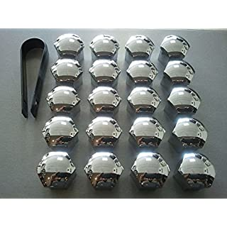 Verchromten Abdeckungen, 20er-Set, 19 mm, für Sechskantschrauben, Schutzabdeckung für KFZ-Räder