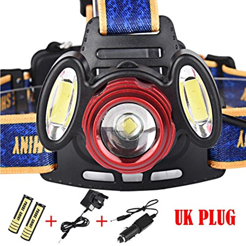 Headlamp, BBring 15000Lm 3x XML T6 Rechargeable Headlamp HeadLight Torch USB Lamp+18650+Charger