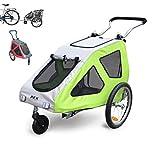 POLIRONESHOP REX rimorchio passeggino per trasporto cani cane cagnolino animali carrello carrellino trasportino rimorchi da bici bicicletta dog portacani portacane porta appendice x (Verde, Small)