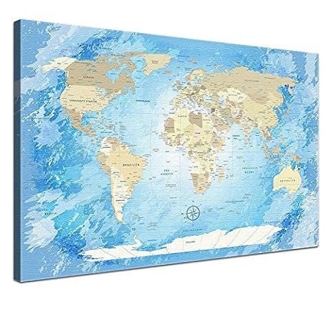 """LanaKK - Weltkarte Leinwandbild mit Korkrückwand zum pinnen der Reiseziele – """"Worldmap Frozen """" - deutsch - Kunstdruck-Pinnwand in blau, einteilig & fertig gerahmt in 60 x 40"""
