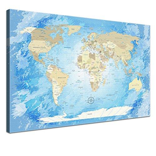 Lanakk–mappa del mondo su tela worldmap antico–tedesco–bacheca di stampa artistica su telaio in legno–globo in marrone, tela, frozen, 120 x 80 cm, 1 pezzo