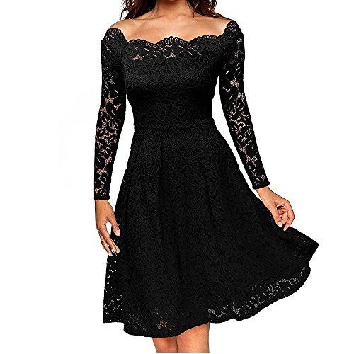 Dame Kleid Rock Elegant Feine Spitze Das Wort TräGerlosen Big Swing Middle in Den Rock Spandex, Black, XL - Spitzen Rock Trägerlosen Brautkleid