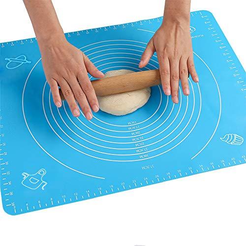 Backmatte Baking Mat Nonstick Rutschfeste Backunterlage mit Messungen Fondant Teig Gebäck aus Silikon Backmatte Teigmatte Wiederverwendbar für Fondant Gebäck Pizza Matte, BPA Frei, (50x40cm Blau)