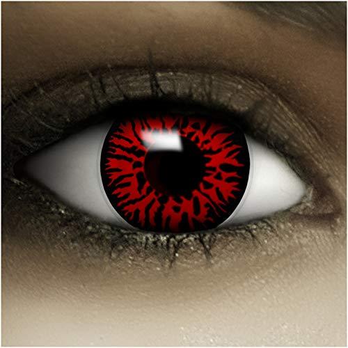 """Farbige Kontaktlinsen """"Dämon"""" + Kunstblut Kapseln + Behälter von FXContacts in rot, weich, ohne Stärke als 2er Pack – angenehm zu tragen und perfekt zu Halloween, Karneval, Fasching oder Fasnacht - 2"""