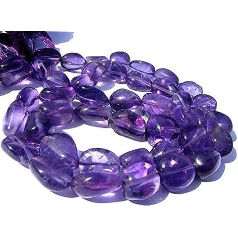 Be You africano viola ametista pietre preziose perle ovali semplici (mani) 13 pollici 3 linee slaccia il filo - Semplice Taglio Delle Pietre Preziose