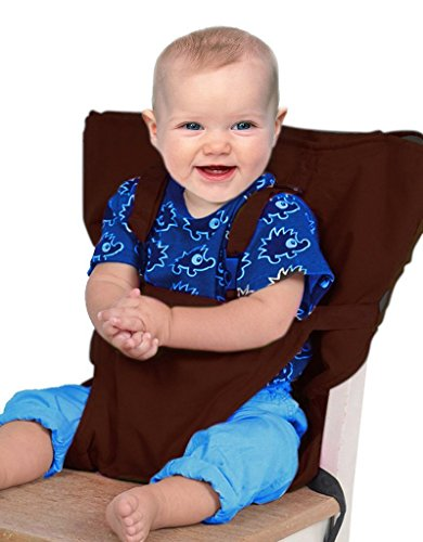 Aurelius Portable Baby Travel Seat High Chair Seat Safety Seat Chair Harness Booster Hook-on Seat Cover, Sack'n Seat For Infant Toddlers (Coffee)