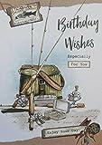 Birthday Wishes. Geburtstag Karte mit Angeln Thema.