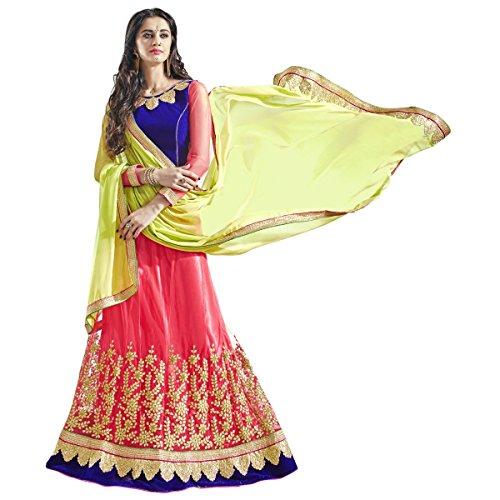 Aagaman Fashions indischen glamourösen rosa farbigen gestickten Net Festival Lehenga (Sari Kostüm Kindes Indischen)