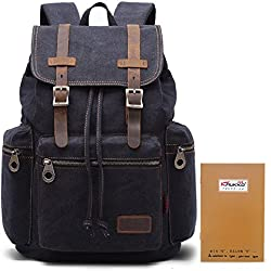 KAUKKO Casual Canvas Men Backpack - Black
