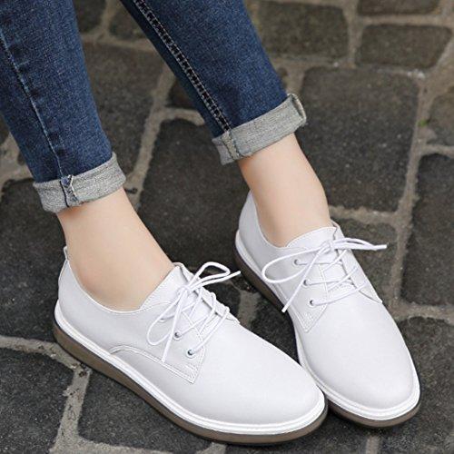 Britische Weiß Schnürhalbschuhe Atmungsaktiv Weiß Lederschuhe Einfache Gummi Freizeit Stil Damen schuhe Sohle 5aqpwHpg