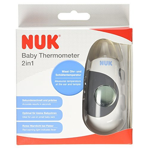 NUK 10256345 2 IN 1 BABY THERMOMETER WITH AN EXTRA SMALL MEASURING HEAD AND INFRARED TRANSMITTER FOR MEASURING EAR AND TEMPORAL ARTERY TEMPERATURES VERSATILE BY NUK