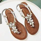 Shukun Chancletas del dedo del pie Planos con Sandalias Mujer Verano Pellizco PU Piedras Romanas Zapatos Romanos Zapatos de Playa con Fondo Plano Bohemio,38,Plateado
